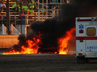 Drivers survives race car fire