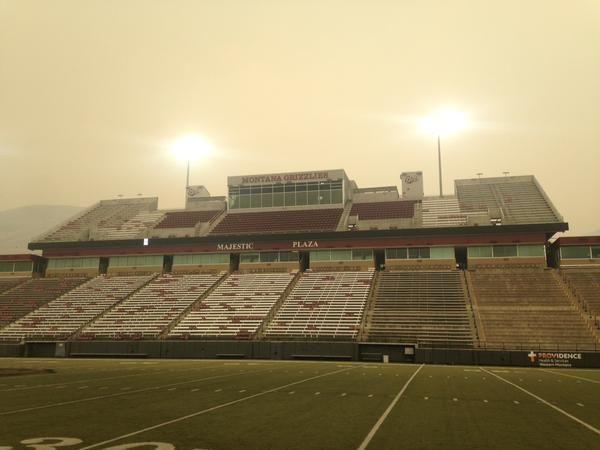 Smoky stadium