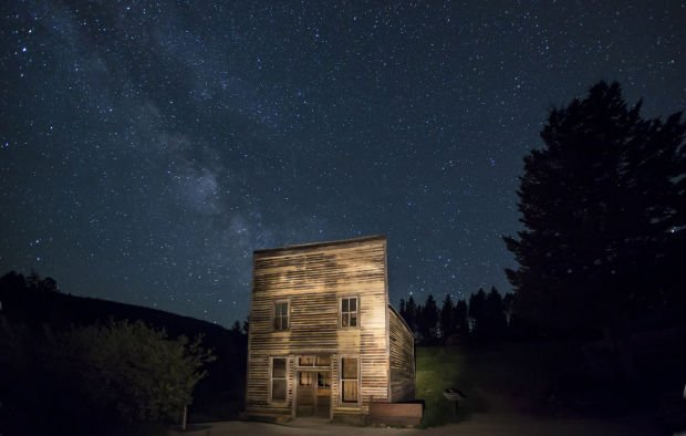 Garnet Ghost Town at night
