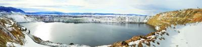 A photo of the Berkeley Pit taken in January