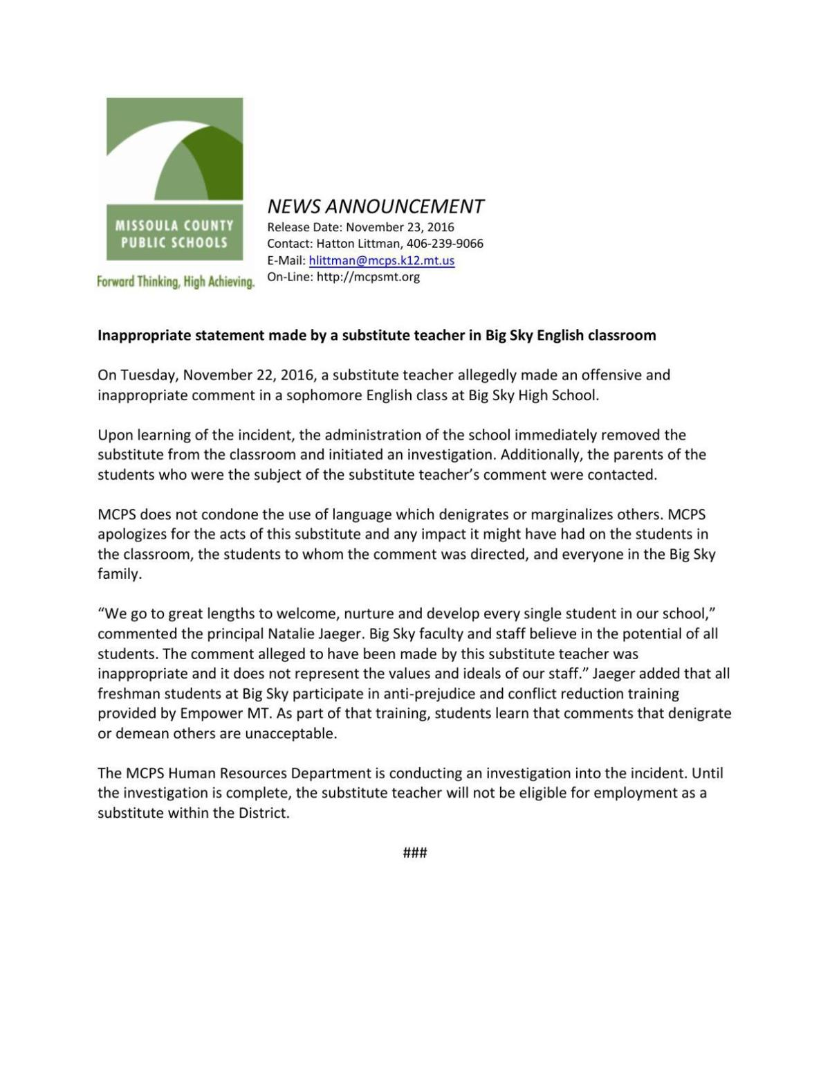 MCPS news release on Big Sky incident