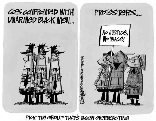 Pick group that's overreacting: cops or protesters