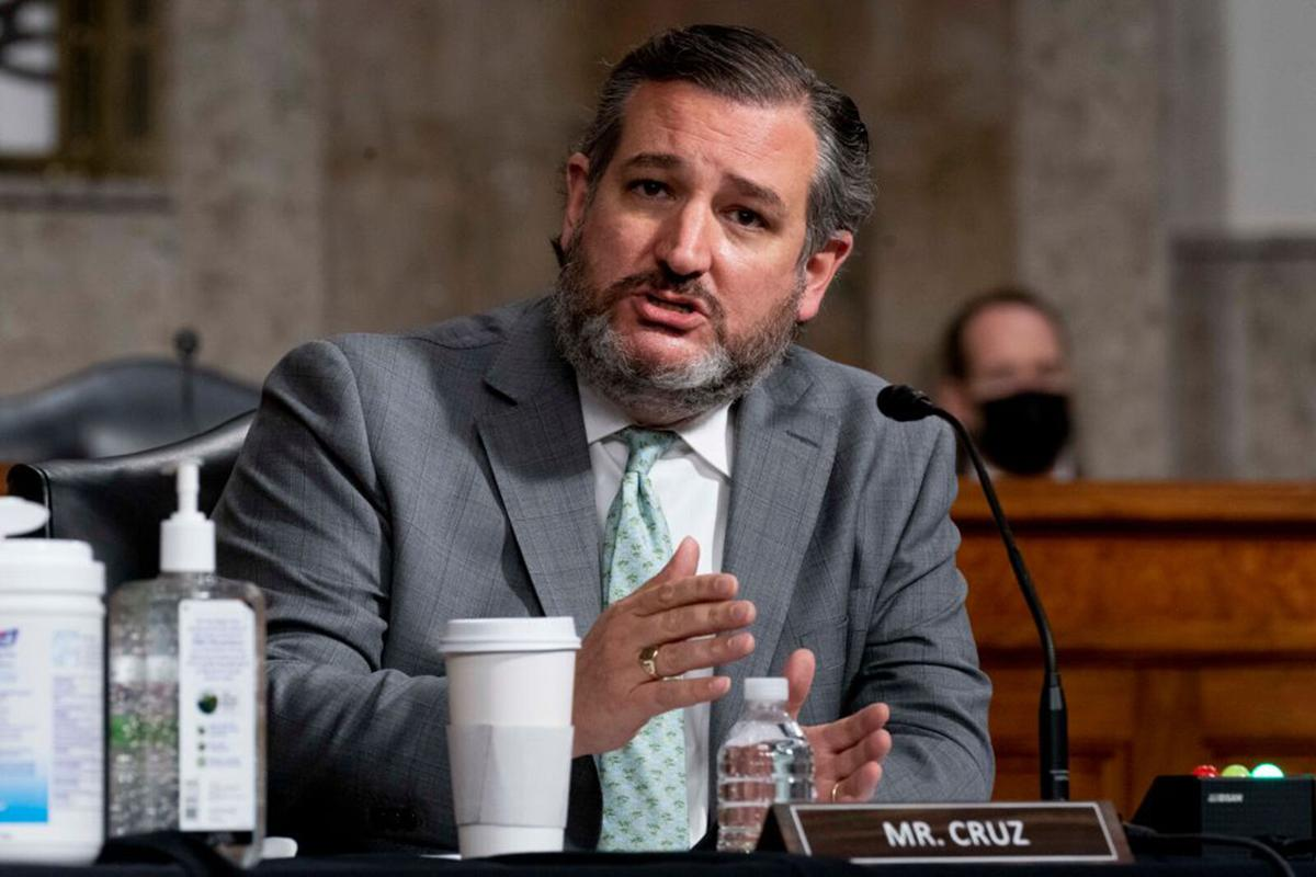 Ted Cruz speaks during a Senate Homeland Security and Governmental Affairs and Senate Rules and Administration joint hearing on February 23, 2021 in Washington, DC.
