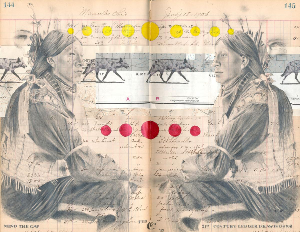 Chris Pappan Mind The Gap 21st Century Ledger Drawing 108 Graphite Map Collage Inkjet Acrylic In 1906 Book 2017