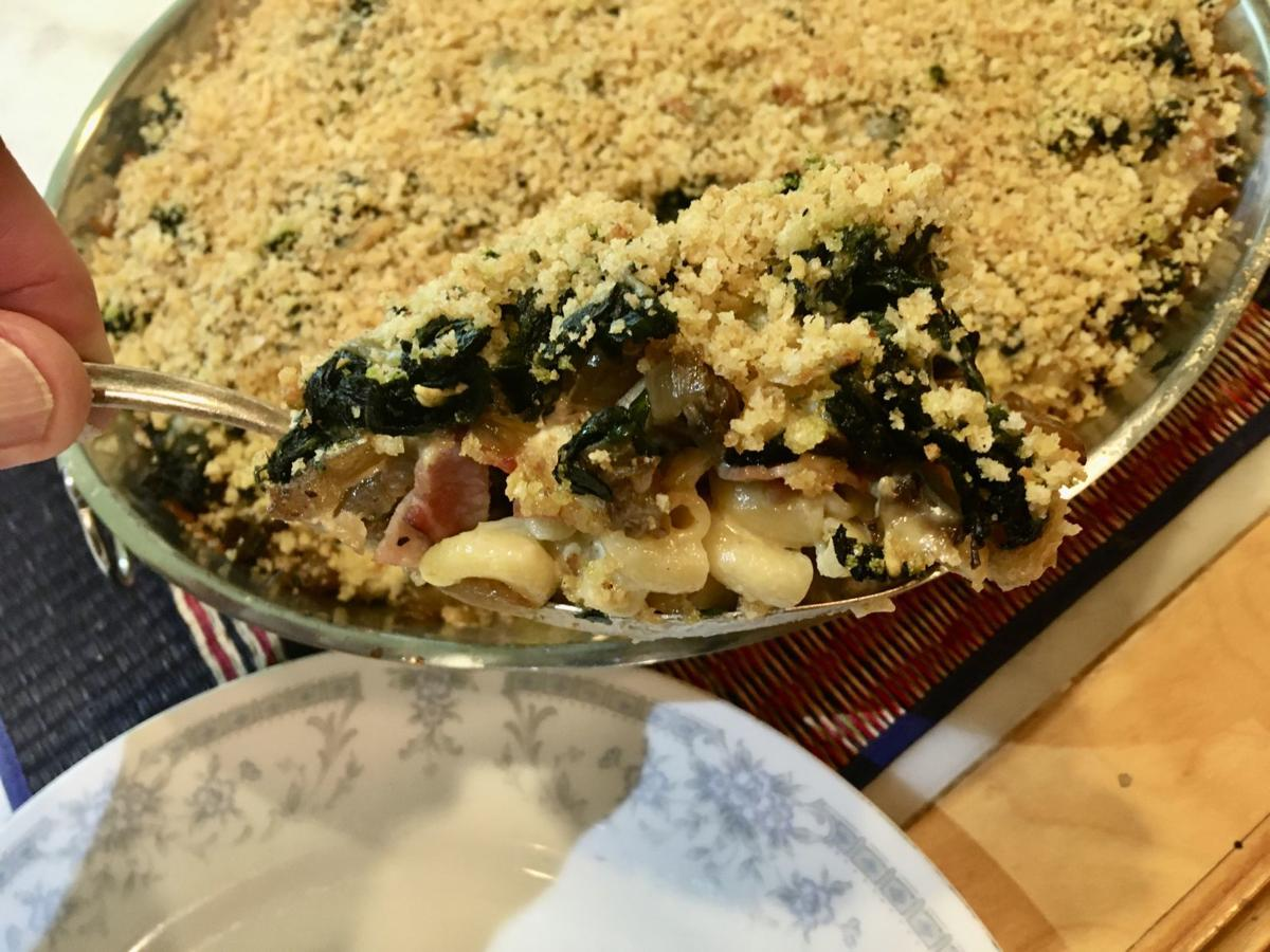 Busy Skillet Spinach, Ham, and Macaroni Strata