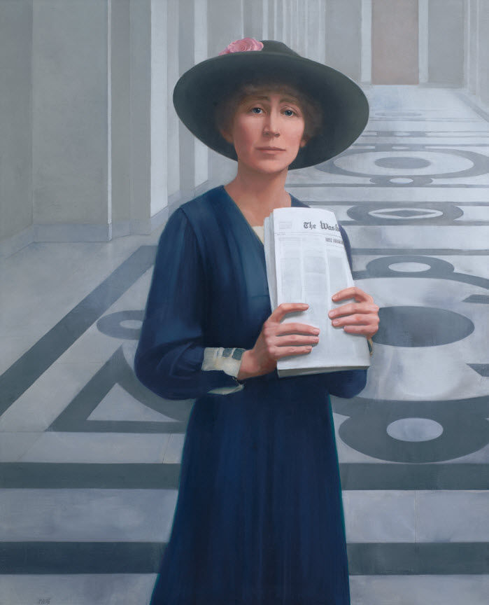 Jeannette Rankin portrait painting by Sharon Sprung