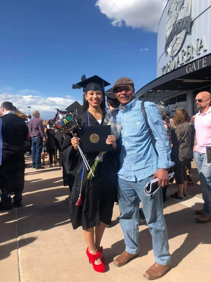 Sean Stevenson with his daughter at graduation