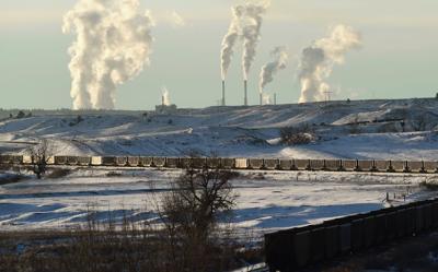 Coal trains stored on tracks