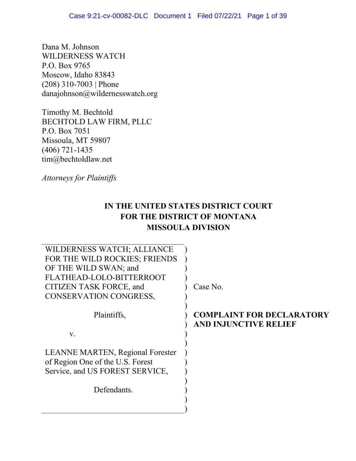 North Fork Blackfoot Preliminary Injunction Request