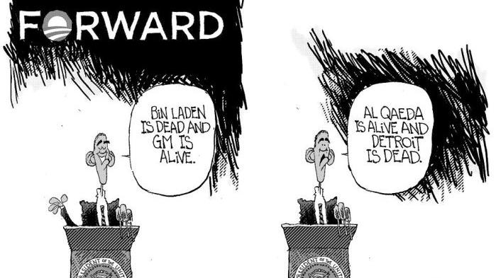 CARTOON: Obama's progress on Bin Laden, GM halted by Al