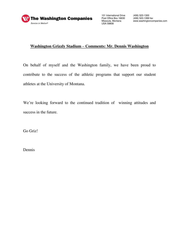 Dennis Washington statement