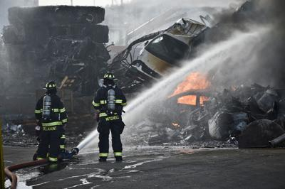 Helena firefighters knock down a fire at Pacific Steel