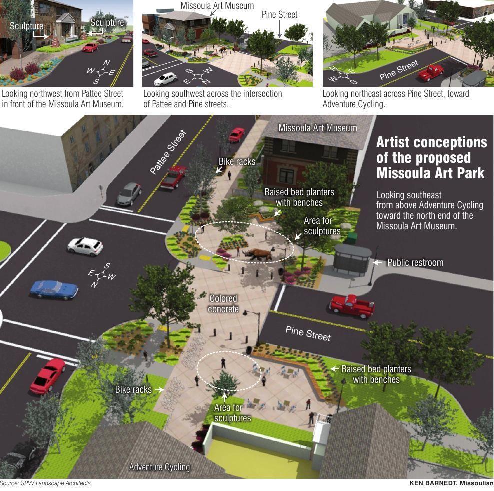 Artist conceptions of proposed Missoula Art Park