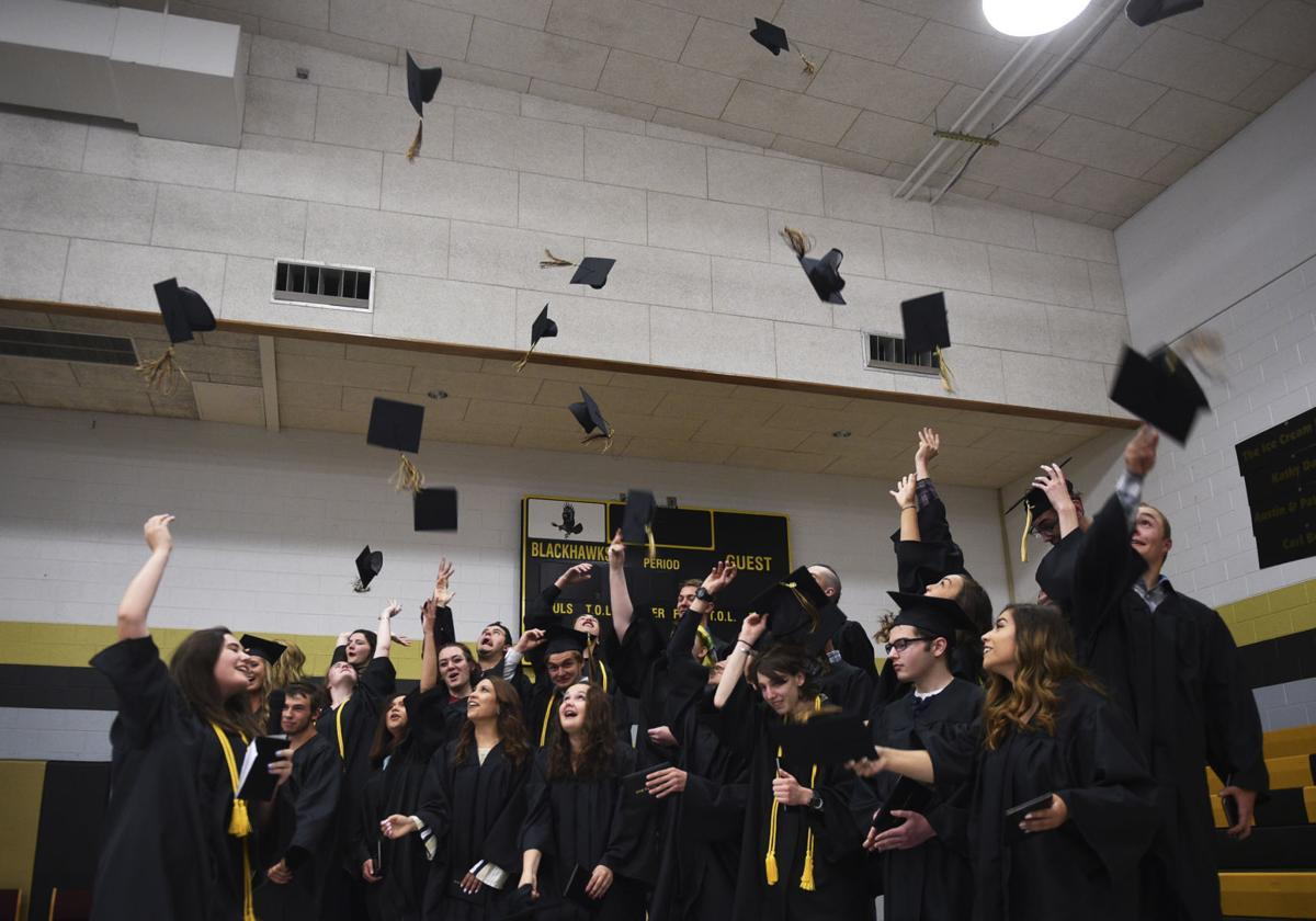Seeley Swan High School Graduation hat toss