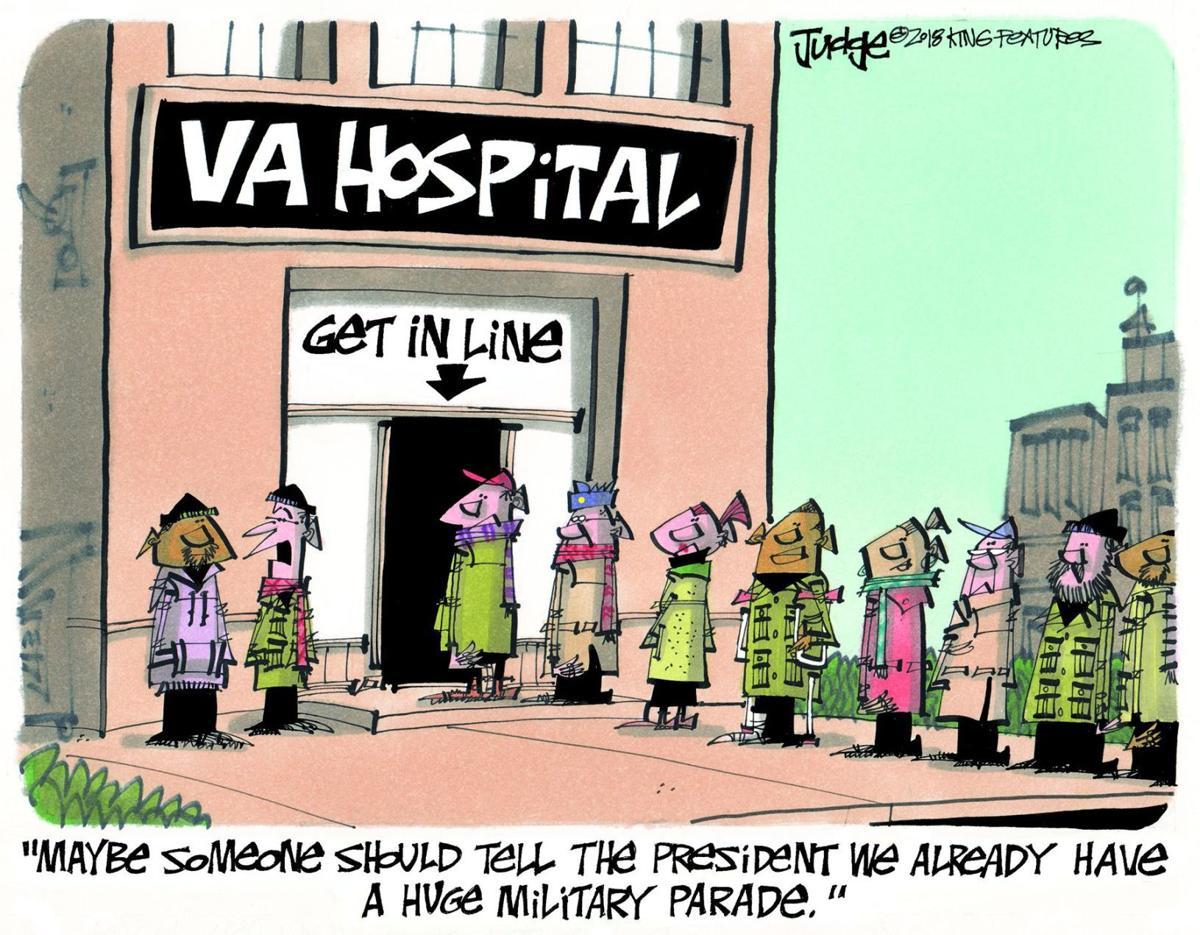 Line of veterans outside VA hospital