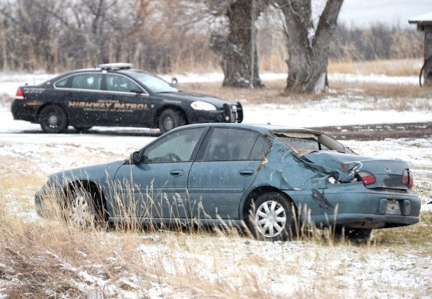Montana Highway Patrol and Crow Agency Police respond to the scene of an accident