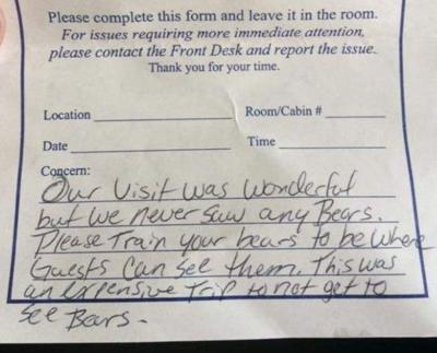 yellowstone handwritten comment review please train your bears