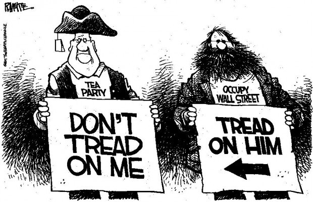 CARTOON: Tea Party, Occupy protesters disagree on whom to