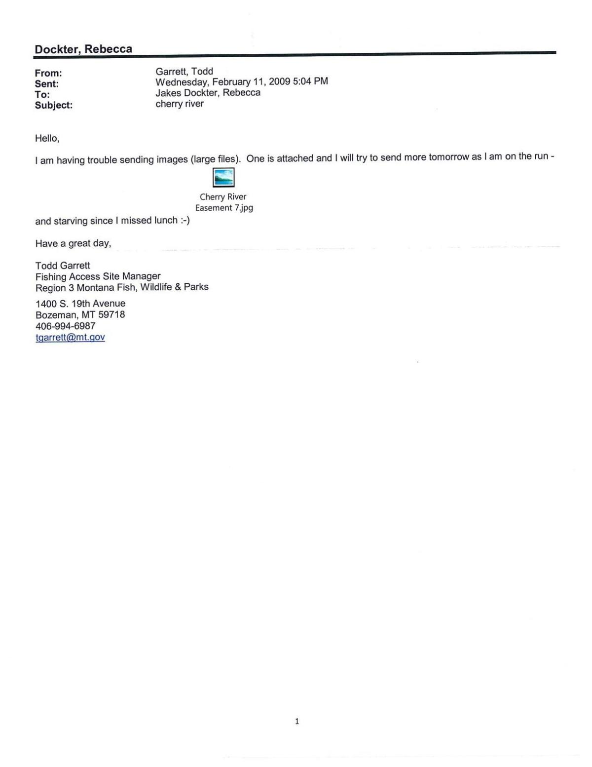 Email correspondence between FWP and Wittich