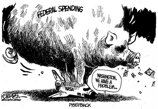 Cartoon Nasa Being Crushed Under Weight Of Federal Spending