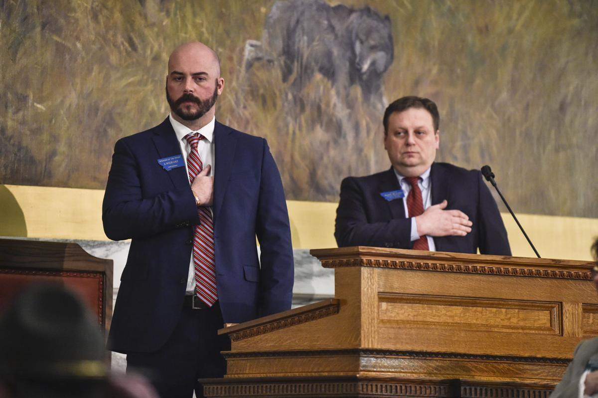 Speaker of the House Wylie Galt, R-Martinsdale, left, and Senate President Mark Blasdel, R-Kalispell,