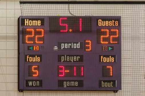 basketball scoreboard stockimage