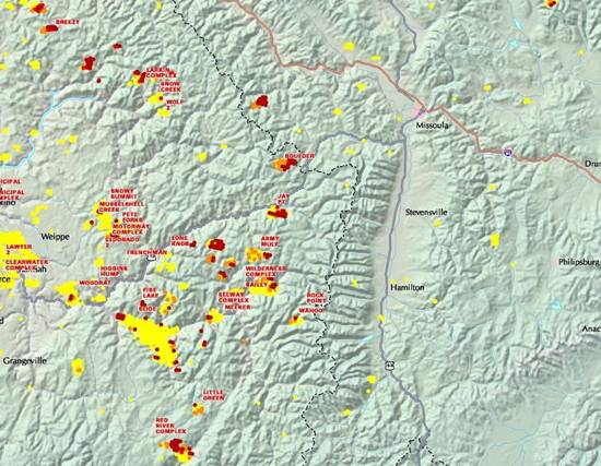 Montana Wild Fire Map.Bad Air High Risk Prompt New Fire Warnings For Missoula Hamilton