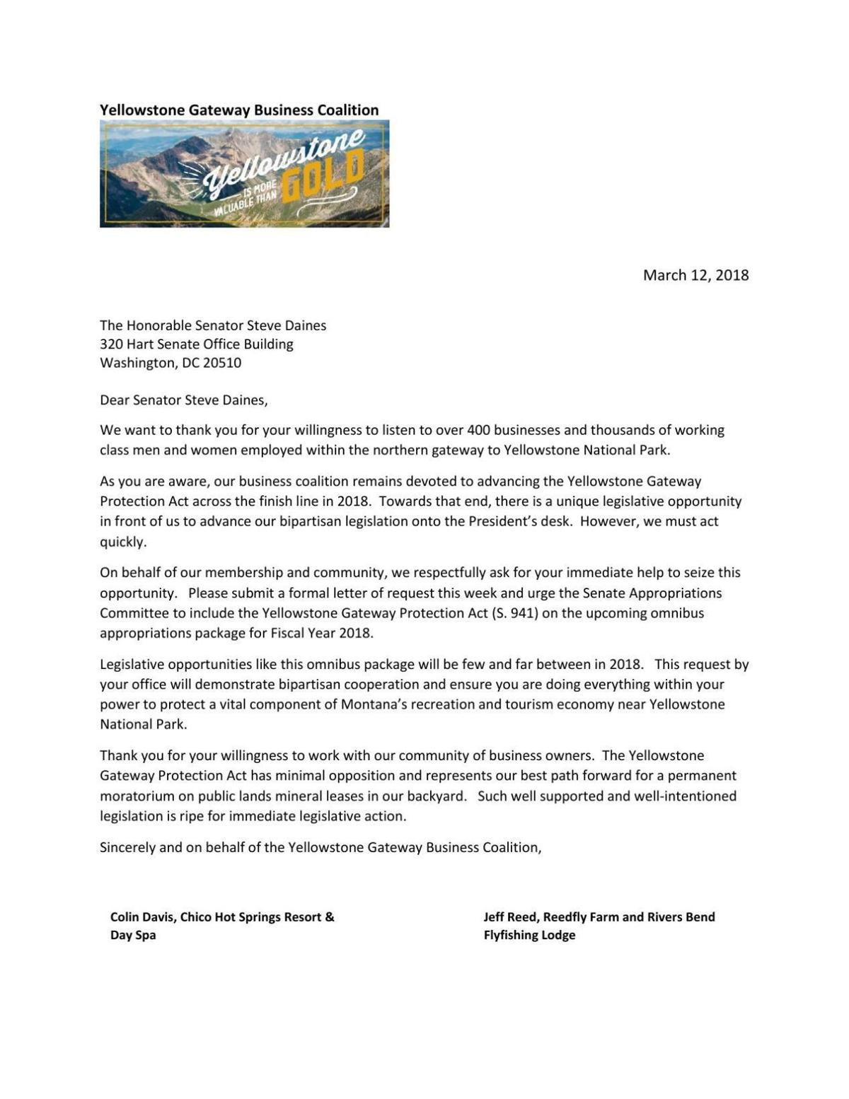 download pdf yellowstone gateway business coalition letter