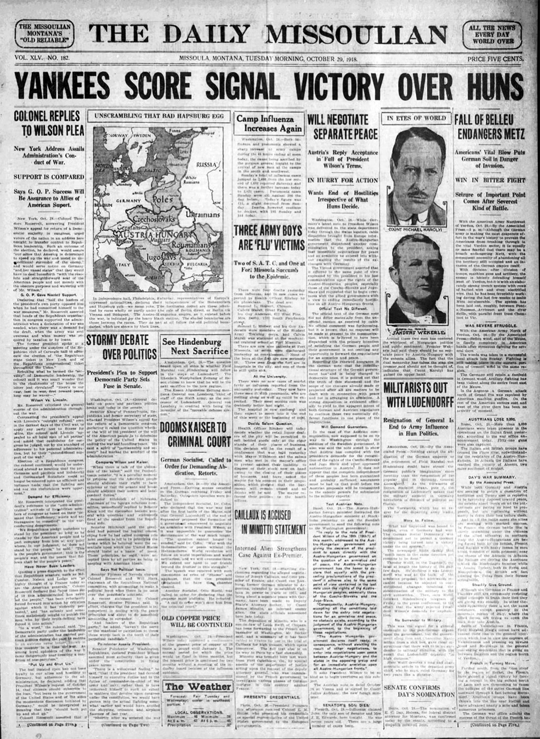 The Missoulian, Tuesday, October 29, 1918