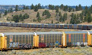 Graffiti on rail cars near Colstrip shows connections from across North America