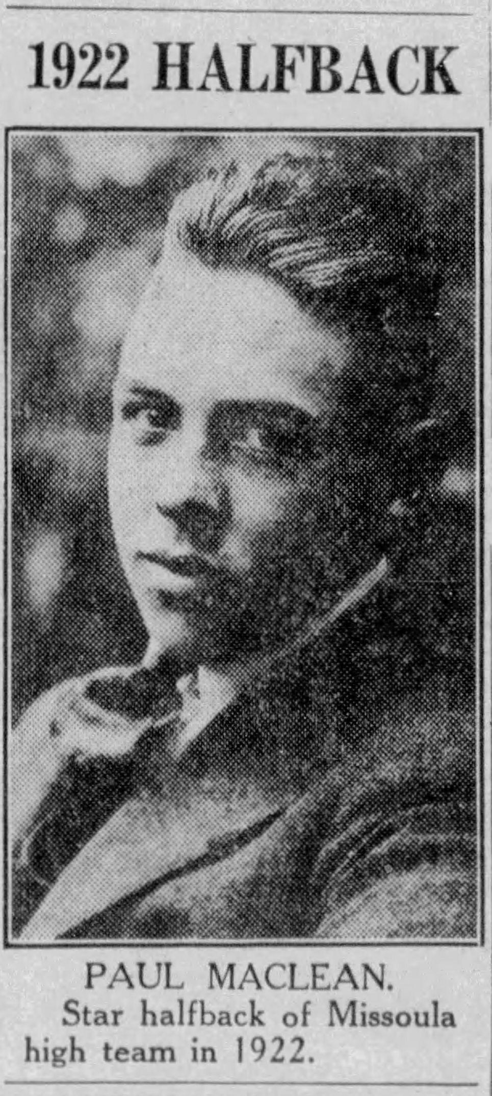 Paul Maclean star halfback Missoula County 1922