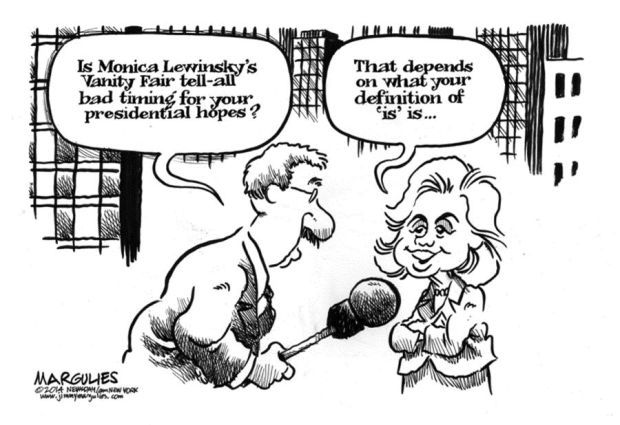 CARTOON: Hillary takes page from Bill's playbook on parsing