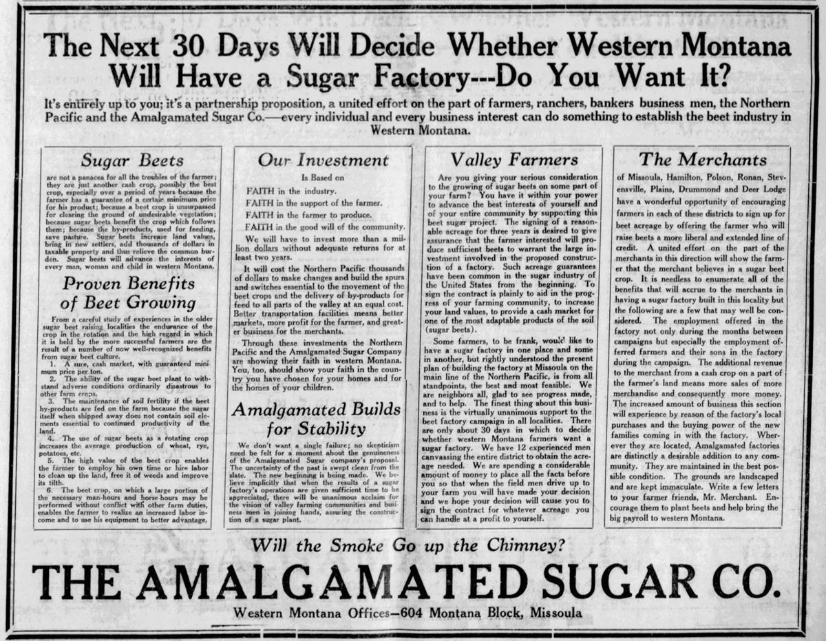 Sugar beet factory ad 1927