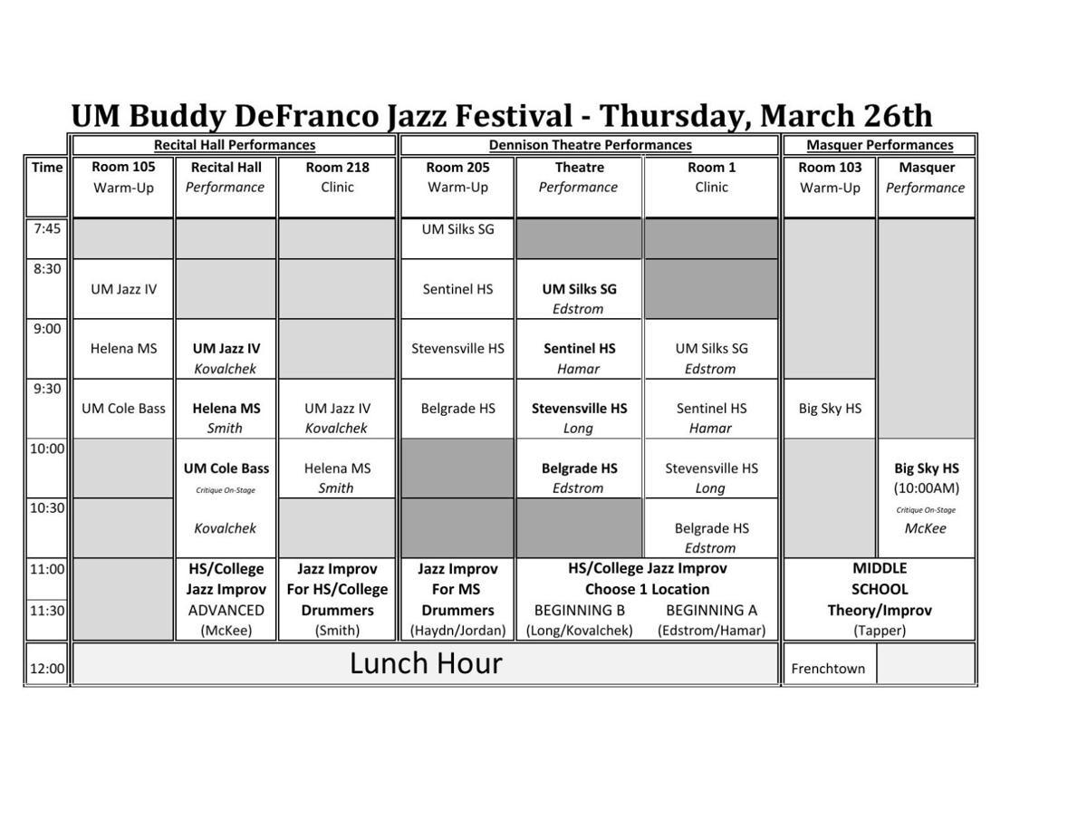 Buddy DeFranco Jazz Festival: Full schedule