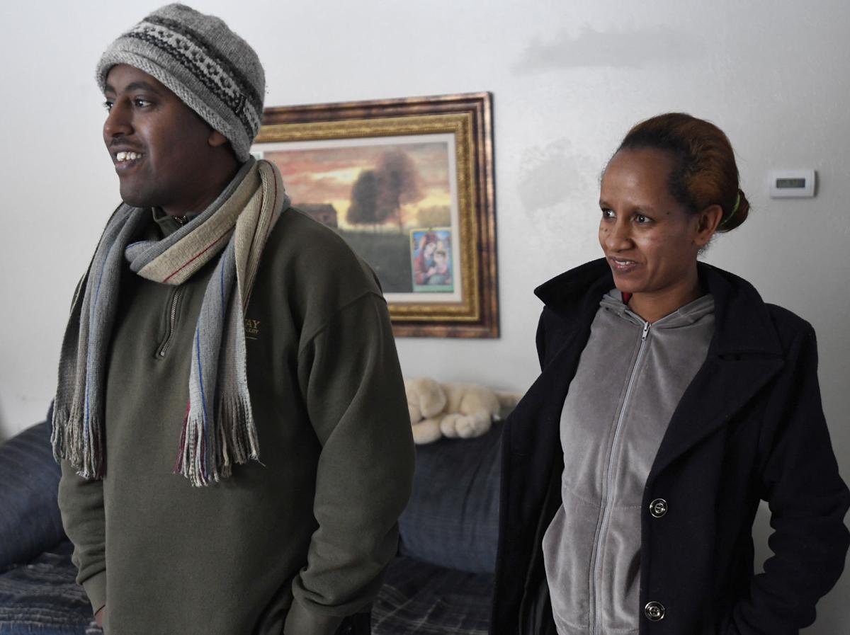 Biniam Adhanom and Helen, Eritrean refugees