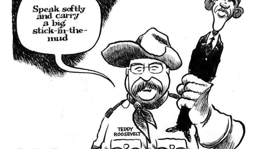 CARTOON: Obama is 'stick-in-the-mud' compared to Teddy