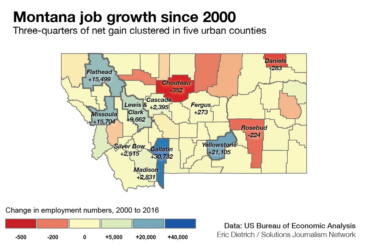 Montana job growth since 2000