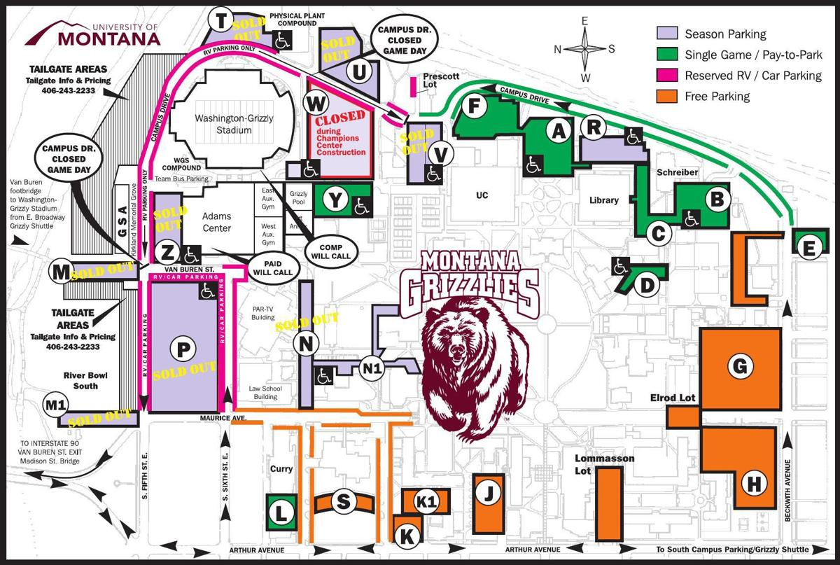 Montana game day parking map