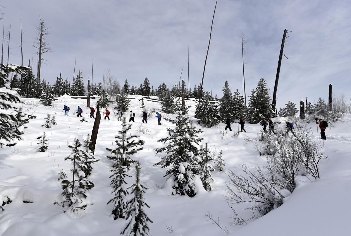 The class takes a snowshoe trip