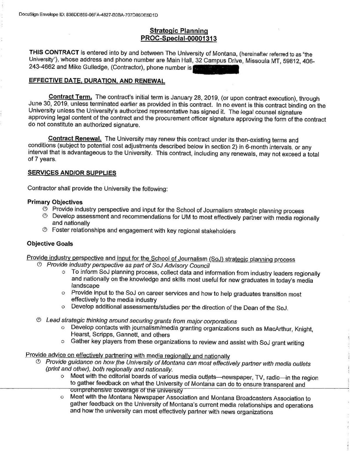 UM Contract with Mike Gulledge