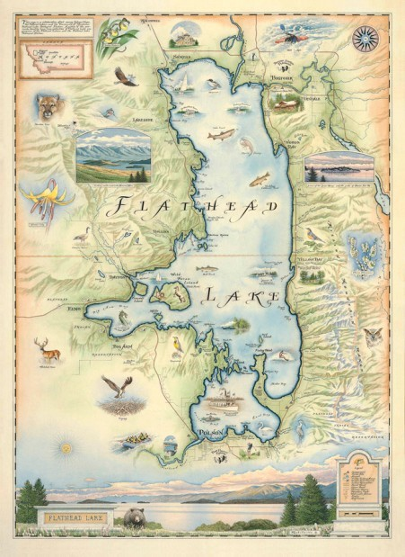 map of flathead lake Famed Lake Old World Map Hand Drawn Limited Editions Will map of flathead lake
