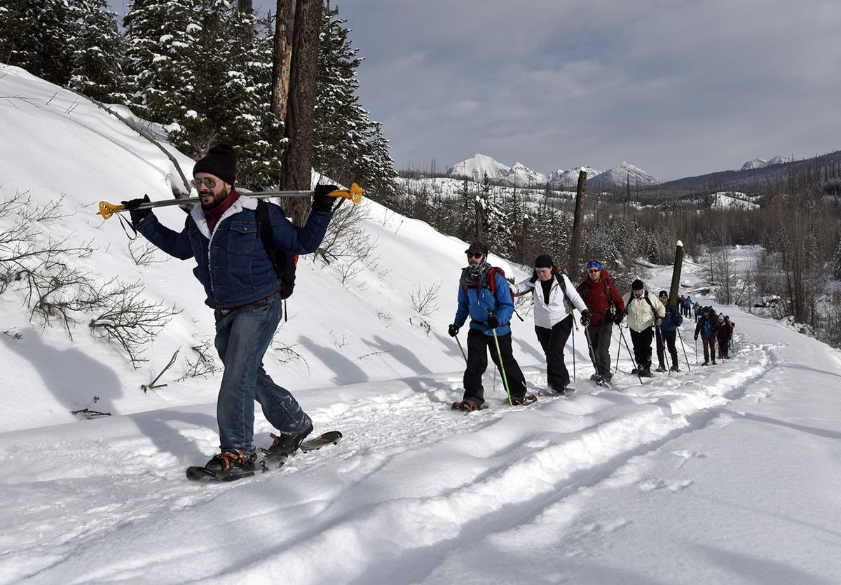 UM students and faculty snowshoe