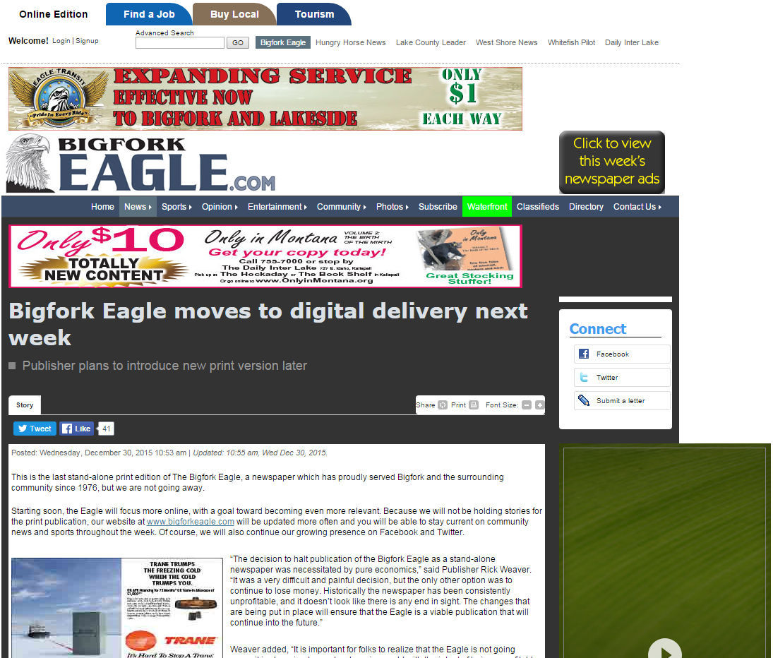 Stand-alone print edition of the Bigfork Eagle comes to an end ...