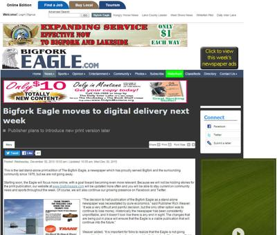 Stand-alone print edition of the Bigfork Eagle comes to an