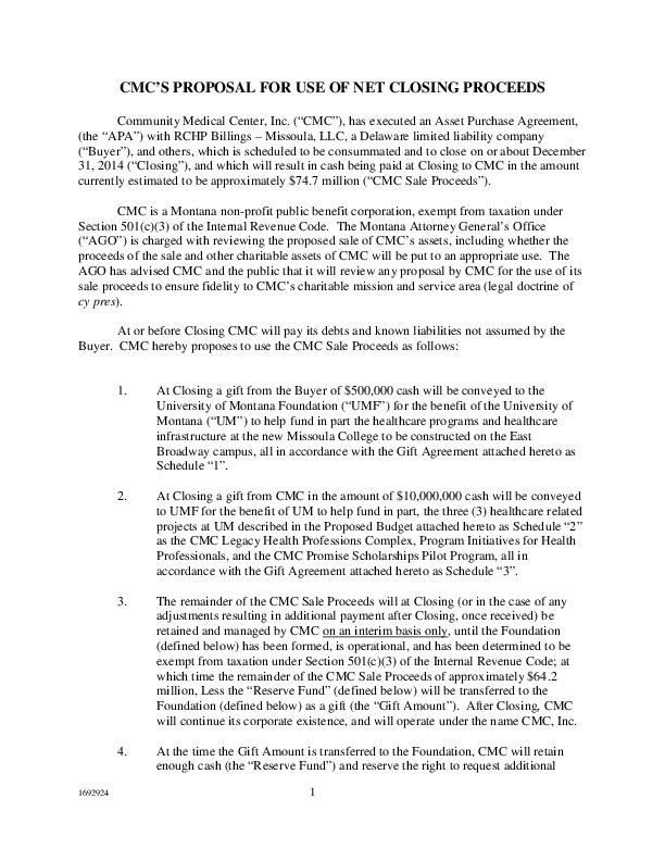 CMC proposal for use of net closing proceeds