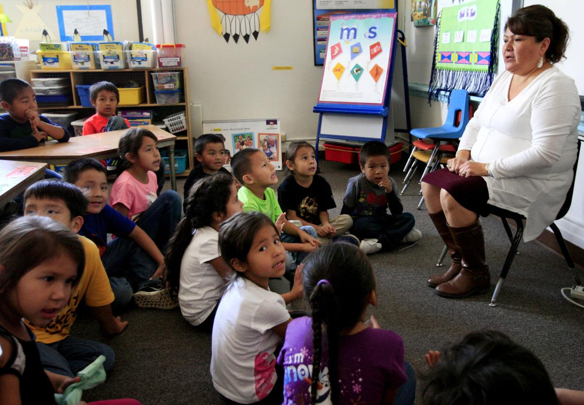 Crow Agency School's kindergarten class