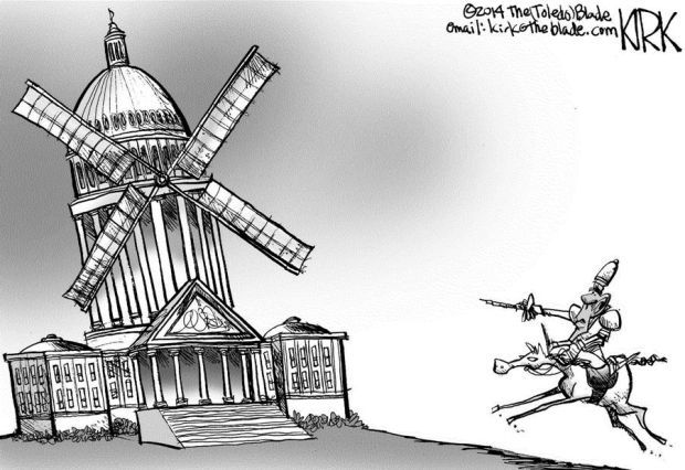 Cartoon President Obama Attacking Congress Like Don