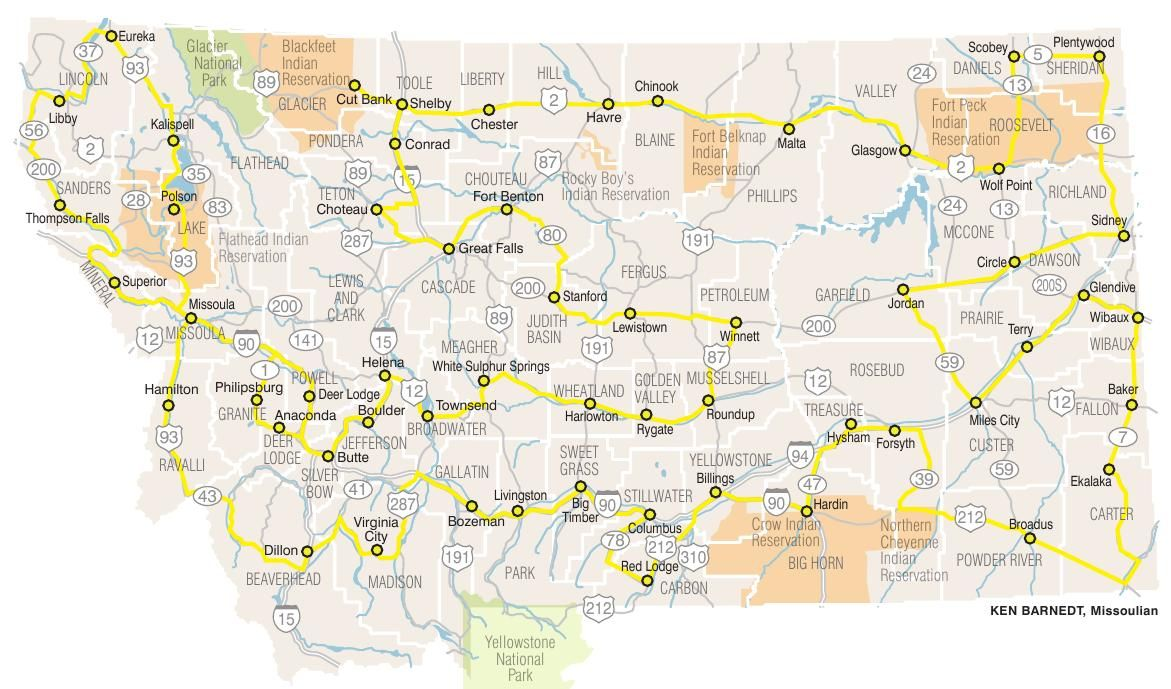 Map of route including every county seat in Montana ...