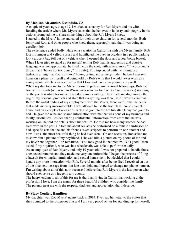 Madison Alexander Letter | | missoulian com