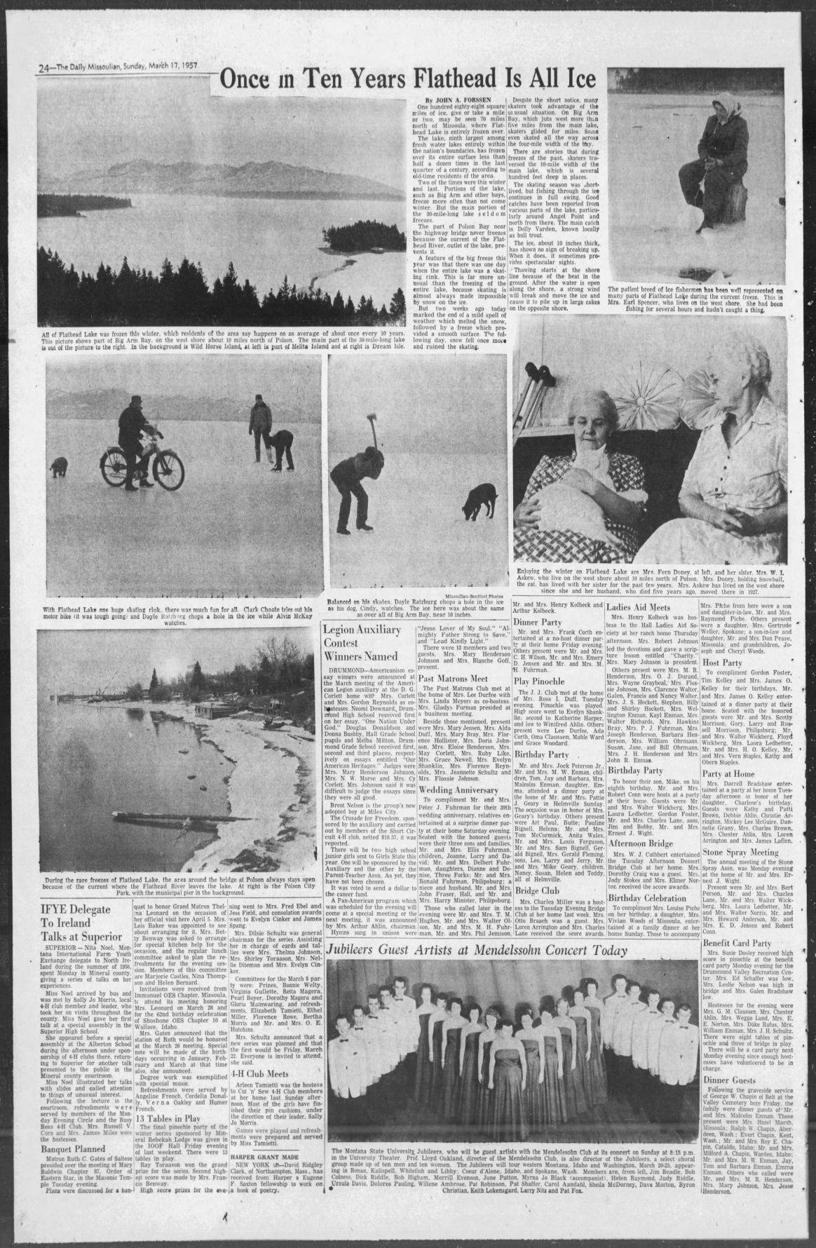 Flathead Lake freezes over in 1957